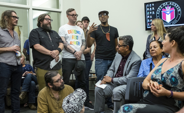 USE THIS PHOTOJuly 12, 2016 -  Riders Against the Storm artist, Chaka, center, speaks at an Austin Music Commission meeting held at city hall in Austin, Texas, on Tuesday, July 12, 2016.   RODOLFO GONZALEZ / AUSTIN AMERICAN-STATESMAN